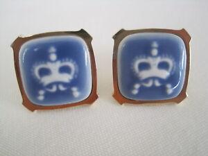 Very Rare Royal Copenhagen Blue and White Crown Cufflinks
