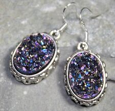 SILVER Vintage Style Purple Blue Rainbow Titanium Druzy Oval Earrings WP11909