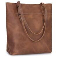 Genuine crazy horseLeather Tote Bag Large Commute Handbag Shoulder Bag for Women