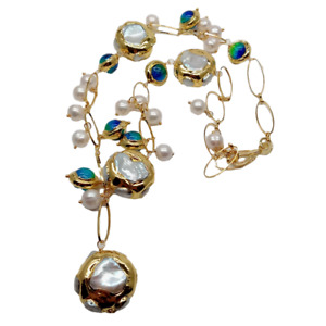 """Freshwater Cultured White Keshi Pearl Blue Murano Glass Necklace 21"""""""