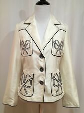 Chloe Ivory Cotton Sateen Three Button Blazer With Bow Trim, Size US 6