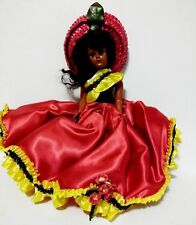 "Dusky Trinidad Kraft Cheese Doll Red and Gold Satin Gown 7.5"" Straw Hat"