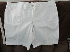 "Ladies ""Sonoma"" Size 24W, White,Knit/Elastic Waist, MidRise,Cuff, Bermuda Shorts"