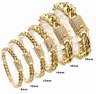 Miami Cuban Curb Link Chain Necklace Bracelet 18K Gold Stainless Steel CZ Bangle