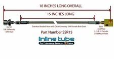 """Stainless Steel Braided Rear Brake Hose 3/16 Tube With Tee -3an 3an 18"""" Long"""