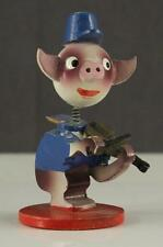 """Vintage Japan Wood Toy Bobble Head LITTLE PINK PIG Playing FIDDLE 1950's Era 3"""""""