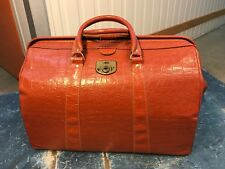 Classic 1950's Leather & Vinyl Folding Gladstone Style Travel Overnight Bag