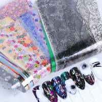50Pcs DIY Holographic Nail Foil Starry Art Transfer Sticker Lace Flower Decals