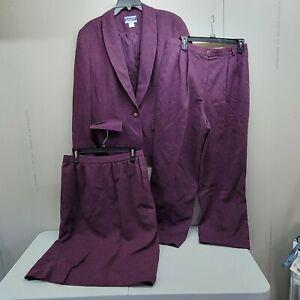 Pendleton Womens 3 Piece Suit Jacket Skirt Pants Wool Size 12/14  Purple