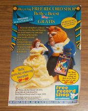 Seltene Werbung FREE RECORD SHOP Die Schöne und das Biest VHS & Figuren NL 1993