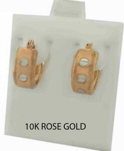 HUGGIES SCREW DESIGN EARRINGS 10K ROSE GOLD *** New With Tag ***