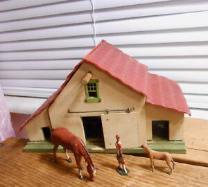 Vintage Putz Wood Stables BARN with Horse and Greyhound
