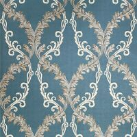 Wallpaper blue beige taupe bronze gold Textured Victorian Damask faux fabric 3D