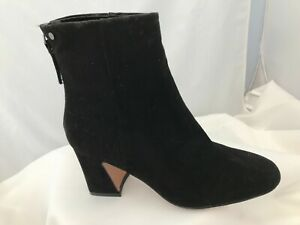 NEW Topshop Belize Black Suede Fabric Zip Ankle Boots Sizes 2 - 8