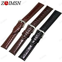 Watch Band Strap Genuine Leather Replacement Belt Silver Buckle 18 19 20 22mm