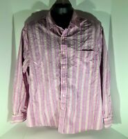 G.H Bass & Co XL Purple with Gold Stripes Cotton Long Sleeve Button Up Shirt