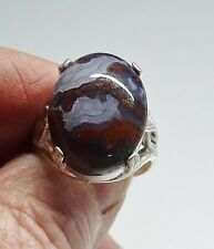 INDONESIAN AGATE RING-Handmade-Size 8-Sterling Silver