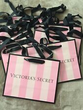 Victoria's Secret Pink White Striped Small Paper Shopping Tote Gift Bags-10 Bags