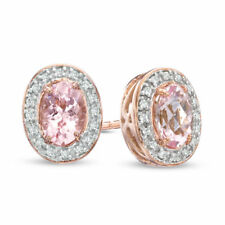 2.35 Ct Oval Cut Natural Morganite Earring 14K Solid White Gold Diamond Studs
