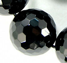 18mm Faceted Black Agate Round Beads 11pcs