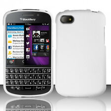 For BlackBerry Q10 Rubberized HARD Protector Case Snap On Phone Cover White