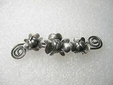 Vintage Sterling Silver Hand-crafted Floral and Scrolled Bar Brooch, signed HAN
