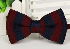 Striped Bowtie Knit Knitted Pre Tied Bow Tie ZZBW214 Men's Firebrick Navy Woven