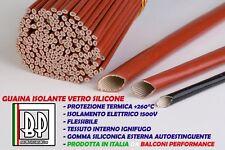 TUBO GUAINA ISOLANTE VETRO SILICONE ALTE TEMPERATURE PROTEZIONE kV 1,5 260° C