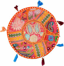 """32"""" Round Pillow Cushion Cover Decorative Floor Tapestry Indian Throw Orange R7"""