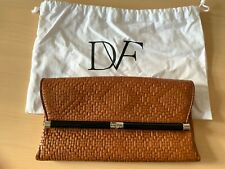 BNWT Diane Von Furstenberg Envelope Weave Tan Leather Clutch Bag Purse Wallet