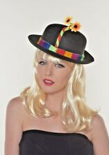 Circus Clown Costume Adults / Kids Flower Black Bowler Hat G1011