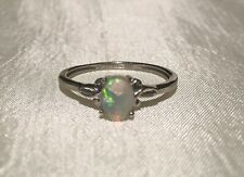 Ethiopian Welo Opal Ring Platinum ION Sterling Silver Size 8 Brilliant GemStone!