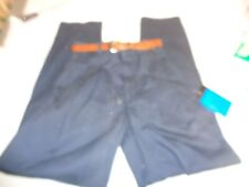 Vintage Boys Long Navy Blue Size 12 Slim Pant with Brown Belt