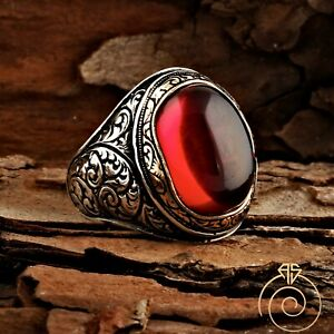 Men Ruby Ring Silver Engraved Fantasy Wedding Jewelry For Men Gentleman Cool NEW