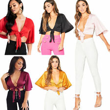 Ladies Womens Flared Sleeved Satin Silk Tie Up Knot Cropped Top Plunge Shirt