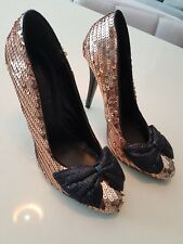 GLAM Pair of Gold Sequined & Bow SIREN Heels - Size 7
