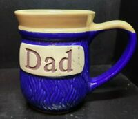 Cracker Barrel DAD Coffee Mug Cup Blue Clay Embossed Stoneware Fathers Day Gift