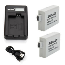 LP-E5 LCD Charger with 2pcs 1600mAh Li-ion Battery for Canon Digital Rebel XS