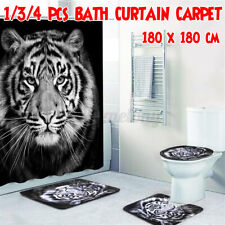 Tiger Printing Bathroom Shower Curtain Non-Slip Bath Mat Toilet Cover Rug Set