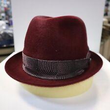 BORSALINO BURGUNDY TRILBY MED HAIR FUR FELT FEDORA DRESS HAT *READ BELOW 4 SIZE