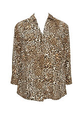 Evans Brown Animal Print Blouse Shirt Tunic - Plus Size 30 - BNWT