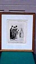 "HONORE DAUMIER(1808-1879) ORIGINAL PRINT ""LES GENS DE JUSTICE""GILT WOOD FRAME #1"