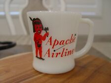 Fire-King Apache Airlines Milk Glass Advertising Coffee Mug