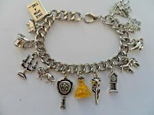 HANDMADE  BEAUTY AND THE BEAST BRACELET WITH 12 SILVER AND 1 ENAMEL CHARM
