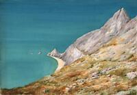 ROCKY COASTLINE Watercolour Painting c1940 SEASCAPE
