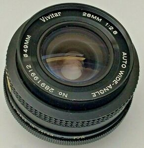 Vivitar 28mm f/2.8 Auto Wide Angle Prime Camera Lens Fits Pentax K Mount