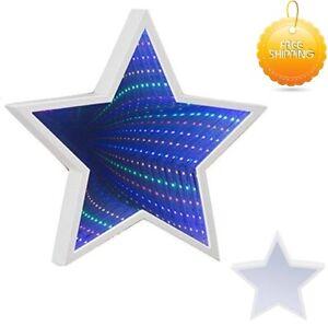 Autism Calming Sensory LIGHTS LED Star Shaped Infinity Mirror Light KIDS Gift UK