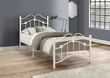 Traditional Victorian Metal Bed Frame in Cream With Curved Headboard & Footboard