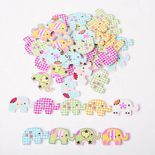 50 pcs Fancy Mixed Sewing Elephant Wood Buttons Kids Baby 2 Holes DIY Buttons