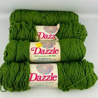Vintage Caron Dazzle Yarn 4 Skein Lot Avocado Green Worsted Creslan Nylon Blend